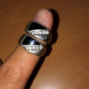Other - 2 Sterling Silver CZ and Onyx Mens Rings